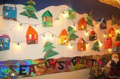 Art Christmas-Village Bulletin Board.  I like the lights. preschool-projects-ideas