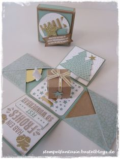 Explosion box for Christmas in mint macaroon and gold… - Stampin Up_Christmas _. - Explosion box for Christmas in mint macaroon and gold… – Stampin - Stampin Up Christmas, Diy Christmas Gifts, Christmas Cards, Christmas Decorations, Christmas Ornaments, Christmas Post, Gold Christmas, Explosion Box, Diy Paper