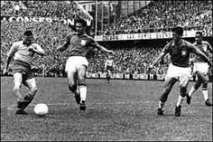 Brazil 5 Sweden 2 in 1958 in Stockholm. Nils Liedholm scores for Sweden after 4 minutes in the World Cup Final.