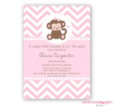 Baby shower girl monkey pink and grey chevron by ceremoniaGlam, $9.50