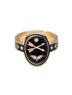 Cross Arrows Cigar Band Ring - Black Champlevé Enamel