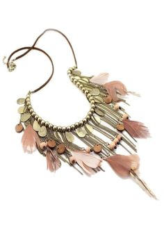 Sumni Boho Feather and Copper Chains Necklace Feather Jewelry, Feather Necklaces, Boho Necklace, Bohemian Jewelry, Fringe Necklace, Pink Necklace, Tassel Jewelry, Hippie Bohemian, Boho Gypsy