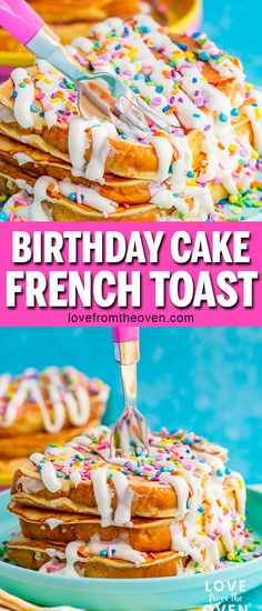 Such a fun birthday breakfast idea Love this birthday cake french toast finished with a frosting drizzle and sprinkles I d add a candle when serving for a birthday frenchtoast birthday funfetti sprinkles birthdaycake birthdaybreakfast lftorecipes # Best Breakfast Recipes, Make Ahead Breakfast, Brunch Recipes, Fun Breakfast Ideas, Breakfast Crockpot, Breakfast Quiche, Breakfast Potatoes, Breakfast Burritos, Breakfast Casserole
