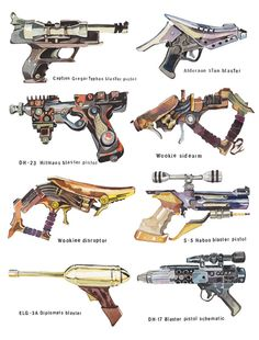 Star Wars Gun Collection Art Print - by Holly Exley - appears to be weapons from episodes 1,2, or 3
