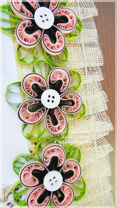 The Card Cabin by Qi Quilly  quilled flowers with button centers