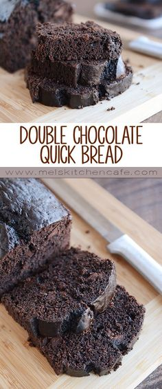 This double chocolate quick bread is as simple as simple can be! #quickbreadrecipes