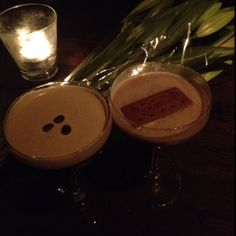 """Espresso martini and """"Death by Chocolate"""" thanks Covent Garden Cocktail Club! And yes that is a whole bourbon in the drink :D"""
