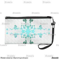 Flower cross wristlet purse