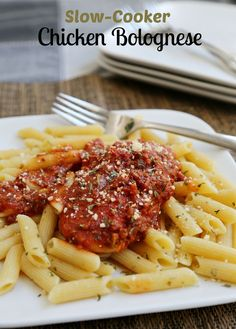 Slow-Cooker Chicken Bolognese, add skinless boneless chicken breasts and a jar…