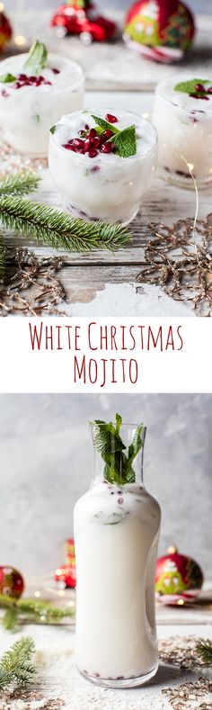 White Christmas Mojito This drink is simple as can be and perfect for all your holiday parties. The post White Christmas Mojito appeared first on Getränk. Party Drinks, Cocktail Drinks, Fun Drinks, Yummy Drinks, Cocktail Recipes, Alcoholic Drinks, Beverages, Party Snacks, Cocktail Ideas