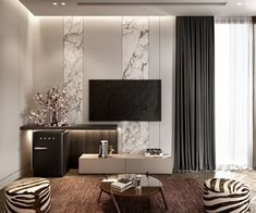 Living Room And Bedroom Combo, Living Room Tv Unit, Living Room Bedroom, Bed Room, Living Rooms, Tv Wall Design, Tv Unit Design, Lcd Panel Design, Luxury Dining Room