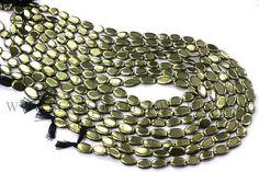 14 inche Pyrite Beads In Oval Smooth Shape Quality A 6x9 #pyrite #pyritebeads #pyritebead #pyriteoval #ovalbeads #beadswholesaler #semipreciousstone #gemstonebeads #beadsogemstone #beadwork #beadstore #bead