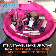 Travel Make Up Wrap Bag ? Easy to store or travel with, just pack the bag in your suitcase or tuck it into your overnight bag. It conveniently fits anywhere! It's a smart and easy solution; clean surface, quick cleanup, carryall and storage. Travel Packing, Travel Bags, Travel Purse, Makeup Brushes, Eye Makeup, Beauty Makeup, Tote Organization, Simple Bags, Travel Makeup