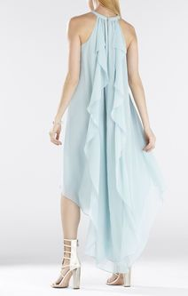 Kelsia Cascade Ruffle Halter Dress