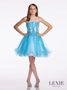 Lexie Teen Pageant Party Dress 11657 is absolutely gorgeous. Talk about winner! This beautiful tween strapless tulle dress is all she needs.