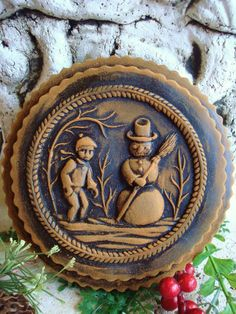 Primitive BOY and SNOWMAN Blackened Beeswax by BlackRockFolkArt, $15.99