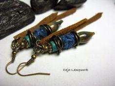 Caja-lampwork  --  Schmuck aus Glas : Headpin Ohrringe mit Leder
