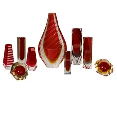 A Collection of Murano Sommerso Glass Vases and Ashtrays from Talisman