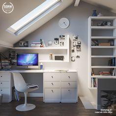 Attic Master Bedroom, Room Design Bedroom, Bedroom Loft, Bedroom Decor, Loft Office, Home Office Space, Home Office Design, House Design, Tiny Office