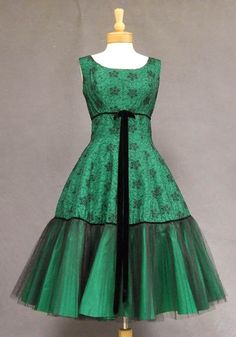 Embroidered Black Tulle and Emerald Taffeta 1950's Cocktail Dress