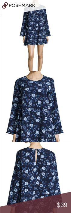 Lucca Couture Long-Sleeve Floral-Print Shift Dress Lucca Couture dress in floral print.  Round neckline; back keyhole.  Long bell sleeves.  Shift silhouette.  Straight hem.  Polyester.  Hand wash.  Imported. Lucca Couture Dresses Mini