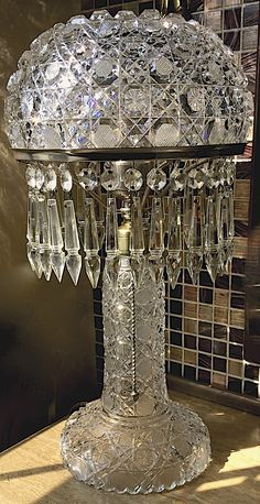 """American Brilliant Cut Glass Lamp, Pairpoint, 1900, Deeply cut Harvard Pattern top, and shallower Harvard matching base. 16""""t x 9""""w, 160oz, 32 notched U-drop pendants. #860"""