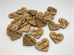 50 Streudeko Holz Herz Tischdeko Braut Bräutigam Name Datum Hochzeit Deko 2 cm