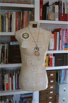 """""""Vintage"""" Dress Form covered with old vintage book pages 