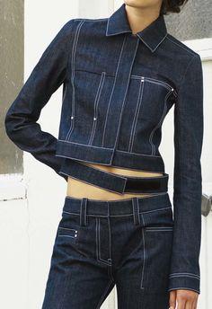 Paco Rabanne | Resort 2017 | @sqchoi Jacket Outfit, Denim Outfit, Jacket Style, Jeans Style, Jeans Trend, Denim Trends, Denim Ideas, Double Denim, Denim On Denim
