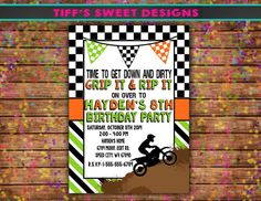 Dirt bike invite personalized printable rustic dirt bike birthday boy dirt bike birthday party invitation by tiffssweetdesigns filmwisefo