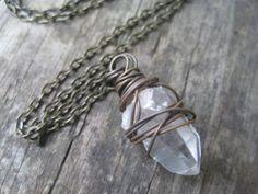 Rough Quartz Necklace - Quartz Point Necklace - Tibetan Quartz Point - Wire Wrapped Jewelry Handmade - RESERVED for Kenny