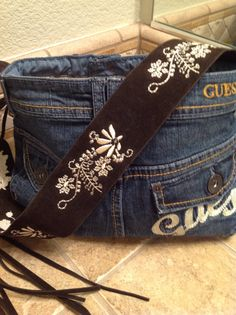 Recycled Guess Jeans Upcycled Denim Purse Repurposed by HookinUp, $42.00