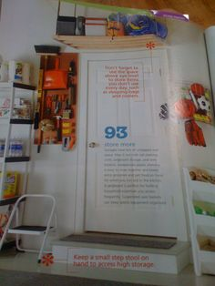 Garage Organizing: Love the idea of having a board right outside the door of things that I would need to use fequently
