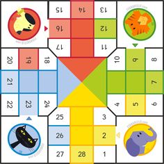 Parchís para pequeños - Ludo for preschoolers gameboard by Eva Barceló colors dog cat elephant tiger Fun Games For Kids, Math For Kids, Fun Math, Math Games, Maths, Board Game Template, Printable Board Games, English Games, English Fun