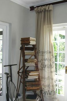 """Living with books, unique ways to display & store books. """"I'd put a paragraph from fave book on the curtains. -Stacy V"""""""
