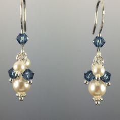 Swarovski Crystal & Crystal Pearl Short Cluster Earrings