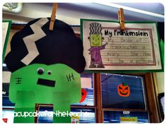 I was browsing some teacher blogs recently and came across these adorable pictures of Bride of Frankenstein and Frankenstein (source), paper plate monster and witch:  (Students used green constru…