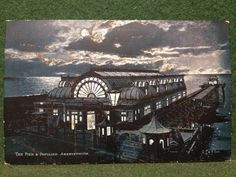 Antique Aberystwith Pier and Pavilion NIGHT TIME Aberystwyth Postcard - D F & Co