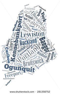 Word Cloud in the shape of Maine showing some of the cities in the state - stock photo