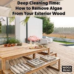 Now that it's officially patio season, it might be time to take your spring cleaning one step further.  Why? Over the winter and spring months, a lot of unsightly things can happen to your outdoor space. Worse than typical leaves, dirt, and mud and harder to get rid of is algae.  What is algae, exactly? Why does it grow on exterior wood surfaces? Check out our latest blog where we're breaking down what you need to know about algae and how you can safely remove them just in time for summer. Deep Cleaning, Spring Cleaning, Cleaning Tips, Outdoor Wood Projects, House Yard, Outdoor Furniture Sets, Outdoor Decor, Wood Surface, Gazebo
