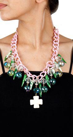Green and pink fusion necklace by VALLIYAN BY NITYA.  Shop at: http://www.perniaspopupshop.com/designers-1/valliyan-by-nitya-arora