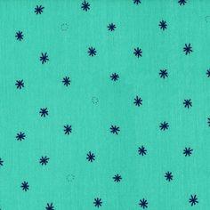 Cotton + Steel Bespoke double gauze - Spark aqua Miss Matatabi