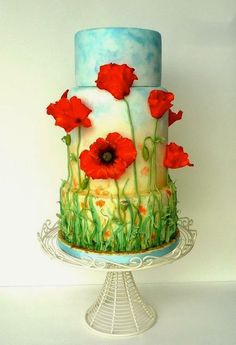 Popping poppies cake