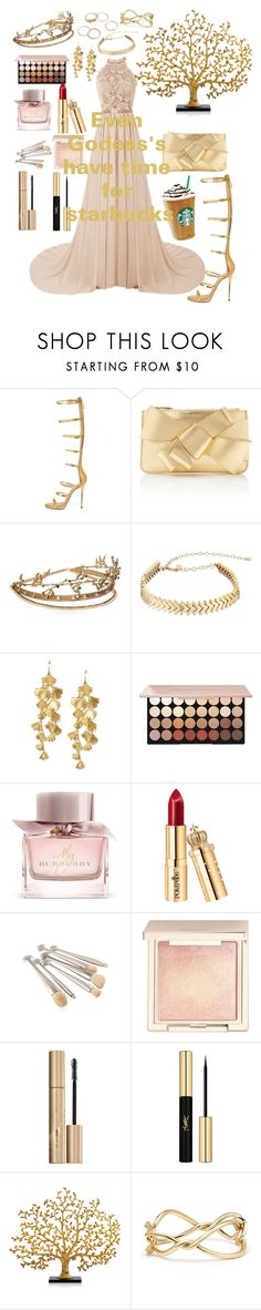 """""""Even Godess's have time for starbucks"""" by strictlyme-girlygirl ❤ liked on Polyvore featuring WithChic, Delpozo, Elie Saab, Rebecca Minkoff, Tory Burch, Burberry, Jouer, Stila, Yves Saint Laurent and Michael Aram"""