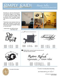 """Create relaxing and inviting designs for your #salon.  You will be the talk of the town with your new decor.  #Custom designs and personalize designs available for all decor.  Large designs available for that  """"What do I do with that wall?""""  http://www.mysimplysaiddesigns.com/571"""