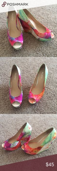 Aldo multicolored wedges. Size 37 women's These are so beautiful! In excellent condition only worn twice. Size 37 women's. Aldo Shoes Wedges