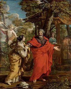 Return of Hagar, 1637 by Pietro da Cortona. Baroque. religious painting. Kunsthistorisches Museum, Vienna, Austria