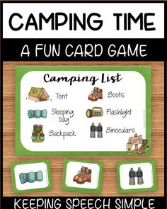 This easy to prep, printable card  game will bring camping inside this summer for your preschool and early elementary students. This game can be paired with centers in a preschool class, or it can be used to develop vocabulary and game play. This game can also be paired with drill work for speech therapy. Click here to see more of this resource!