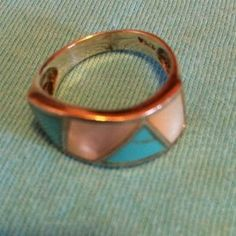 Jewelry - Vintage  turquoise and mother of pearl ring