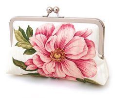 Peony and butterfly clutch bag : Silk-lined purse, wedding accessory, bridesmaid gift, bridal clutch, gift box Wedding Clutch, Bridal Clutch, Pink Peonies, Pink Flowers, Peony, Floral Fashion, Printed Bags, Bridal Accessories, Fashion Accessories